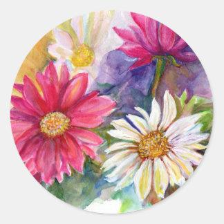 Multicolored Gerbera Daisies Classic Round Sticker