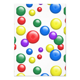 Multicolored Gumballs ANY COLOR BACKGROUND 13 Cm X 18 Cm Invitation Card
