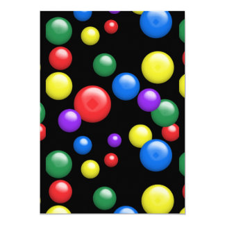 Multicolored Gumballs on Black 13 Cm X 18 Cm Invitation Card