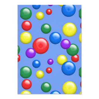 Multicolored Gumballs on Blue 13 Cm X 18 Cm Invitation Card