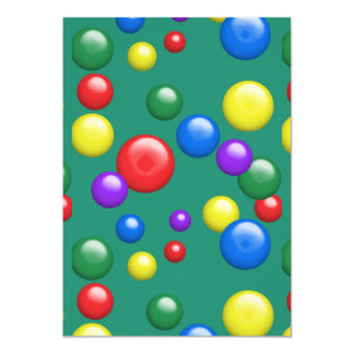 Multicolored Gumballs on Green 13 Cm X 18 Cm Invitation Card