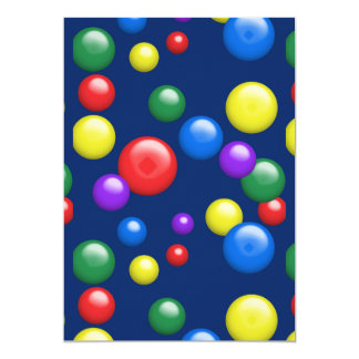 Multicolored Gumballs on Navy 13 Cm X 18 Cm Invitation Card