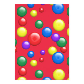 Multicolored Gumballs on Red 13 Cm X 18 Cm Invitation Card