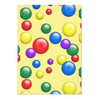 Multicolored Gumballs on Yellow 13 Cm X 18 Cm Invitation Card