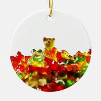 Multicolored Gummy Bears Round Ceramic Decoration
