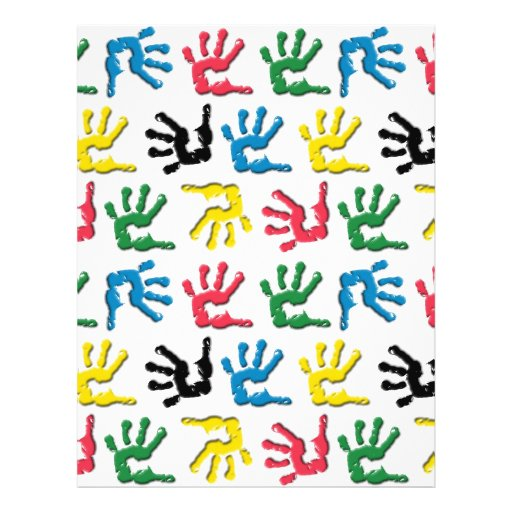 Multicolored handprints pattern full color flyer