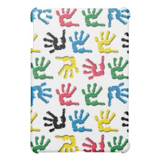 Multicolored handprints pattern iPad mini case