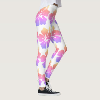 Multicolored Hawaiian Flower Leggings