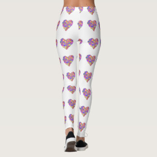 Multicolored heart leggings