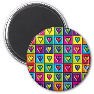 Multicolored Hearts 6 Cm Round Magnet