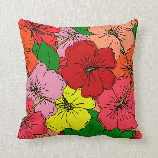 Multicolored Hibiscus Flowers #7 Cushion