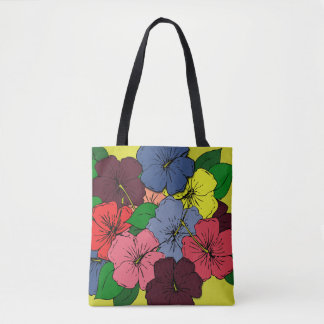 Multicolored Hibiscus Flowers Tote Bag