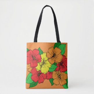 Multicolored Hibiscus Flowers Tote Bag
