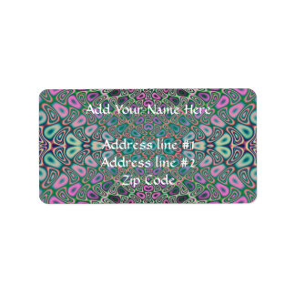 Multicolored Hologram Butterfly Fractal Abstract Address Label