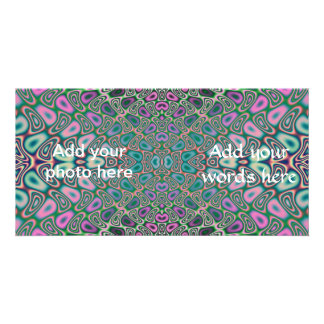 Multicolored Hologram Butterfly Fractal Abstract Personalized Photo Card