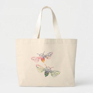 Multicolored Honeybee Doodles Large Tote Bag