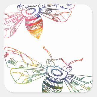 Multicolored Honeybee Doodles Square Sticker