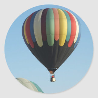 Multicolored hot air balloons round sticker