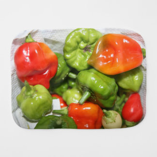 Multicolored hot pepper pile image baby burp cloth
