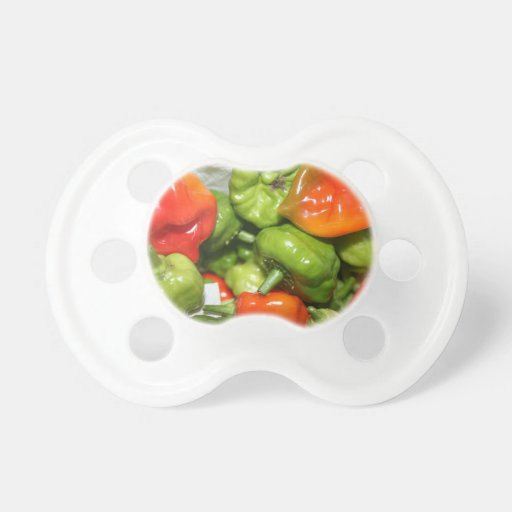 Multicolored hot pepper pile image baby pacifier