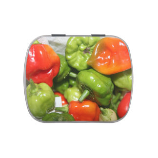 Multicolored hot pepper pile image jelly belly candy tins