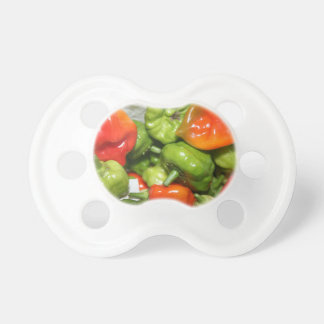 Multicolored hot pepper pile image pacifiers