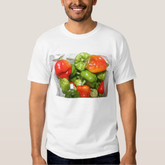 Multicolored hot pepper pile image shirts