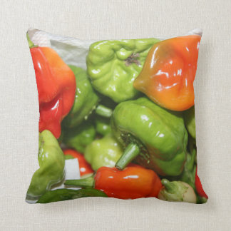 Multicolored hot pepper pile image throw cushions
