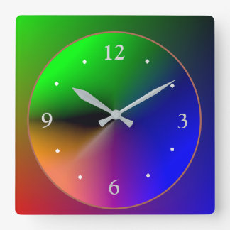 Multicolored Illuminated Design>Colorful Wall Cloc Square Wall Clock
