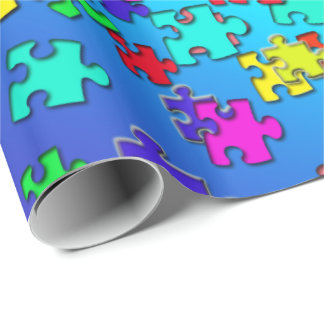 Multicolored jigsaw puzzles pieces wrapping paper