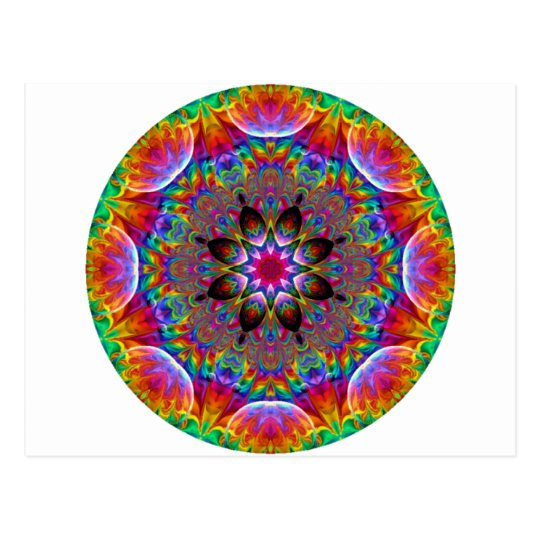 Multicolored Kaleidoscopic Floral Starburst Postcard