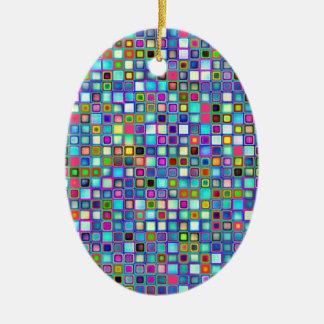 Multicolored 'Kindergarten' Retro Tiles Pattern Ceramic Oval Decoration