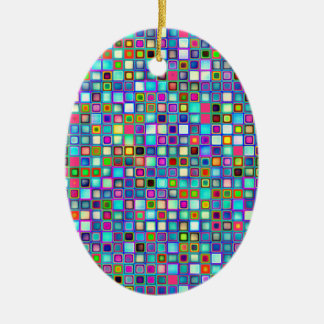 Multicolored 'Kindergarten' Retro Tiles Pattern Christmas Ornament