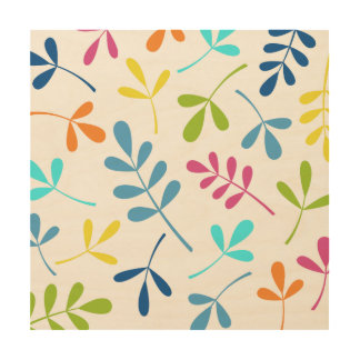 Multicolored Large Assorted Leaves Design Wood Wall Decor