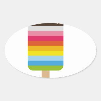 Multicolored Lolly Pop Icecream Oval Sticker