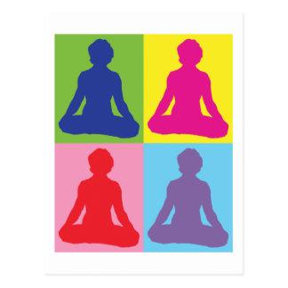 Multicolored Lotus Pose Yoga Postcard