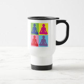 Multicolored Lotus Pose Yoga Travel Mug
