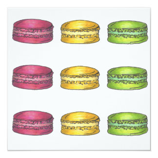 Multicolored Macarons Macaron Cookie Invitation