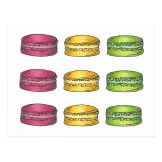 Multicolored Macarons Postcard