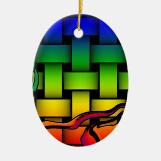 Multicolored modern woven pattern christmas ornament