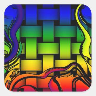 Multicolored modern woven pattern square sticker