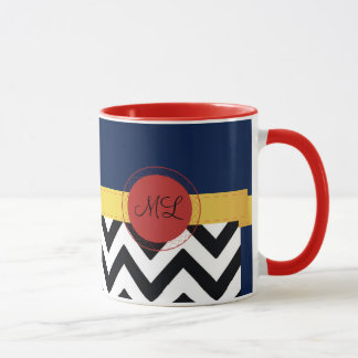 Multicolored Monogram with Zig Zags Mug