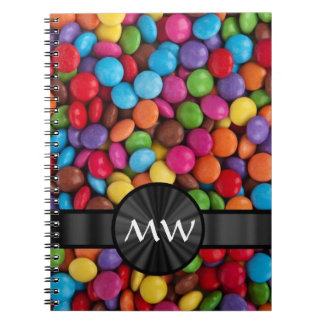 Multicolored monogrammed candies notebook