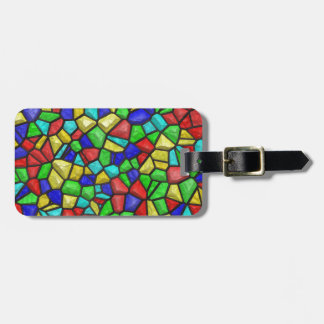Multicolored Mosaic Design. Stained Glass Pattern Luggage Tag