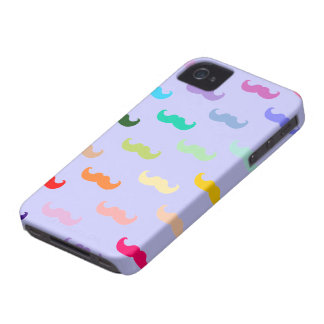 Multicolored Mustache pattern on purple iPhone 4 Cover