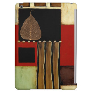 Multicolored Panel Painting with Brown Leaf Case For iPad Air