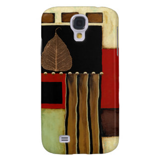Multicolored Panel Painting with Brown Leaf Galaxy S4 Case