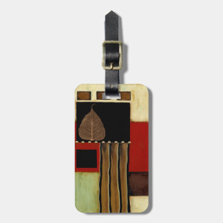 Multicolored Panel Painting with Brown Leaf Luggage Tag