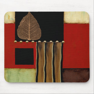 Multicolored Panel Painting with Brown Leaf Mouse Pad