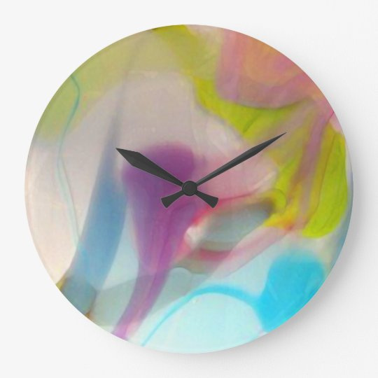 Multicolored pastel blown glass large clock